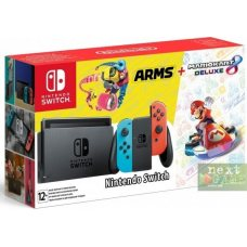 Nintendo Switch Red/Blue + Mario Kart 8 Deluxe + Arms