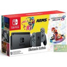 Nintendo Switch Grey + Mario Kart 8 Deluxe + Arms