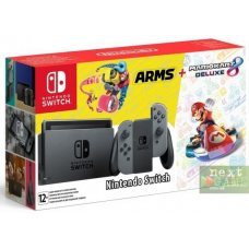 Nintendo Switch Grey + Mario Kart 8 Deluxe + Arms