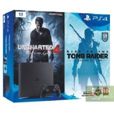 Sony PlayStation 4 Slim 1TB + Uncharted 4: A Thief's End + Rise of the Tomb Raider