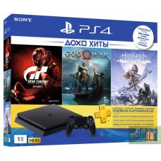 Sony PlayStation 4 Slim 500Gb + Horizon Zero Dawn. Complete Edition + God of War + Gran Turismo Sport + PlayStation Plus 90