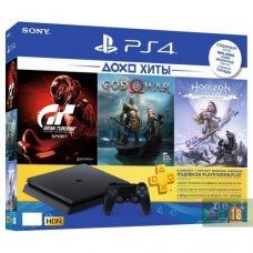 Sony PlayStation 4 Slim 500Gb + Horizon Zero Dawn. Complete Edition + God of War + Gran Turismo Sport + PlayStation Plus 90