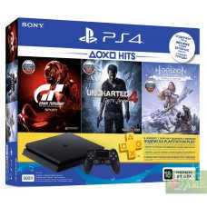 Sony PlayStation 4 Slim 500Gb + Horizon Zero Dawn. Complete Edition + Uncharted 4 + Gran Turismo Sport + PlayStation Plus 90