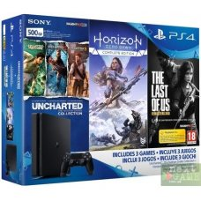 Sony PlayStation 4 Slim 500Gb + Horizon Zero Dawn. Complete Edition + The Last of Us + Uncharted: The Nathan Drake Collection