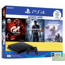 Sony PlayStation 4 Slim 500Gb + Horizon Zero Dawn. Complete Edition + Uncharted 4 + Gran Turismo Sport